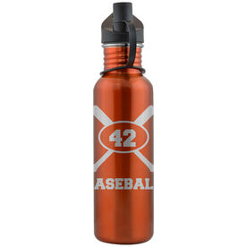 Baseball Crossed Bats and Player Number 24 oz Stainless Steel Water Bottle