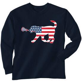 Girls Lacrosse Long Sleeve T-Shirt - Patriotic LuLa the Lax Dog
