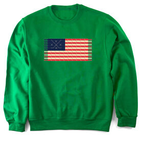 Hockey Crew Neck Sweatshirt Hockey Laces Flag
