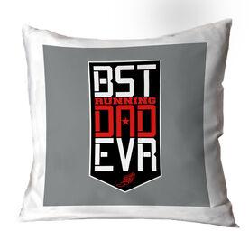Running Throw Pillow - Best Dad Ever Shield