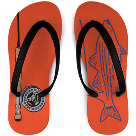 Fly Fishing Flip Flops Striper and Rod