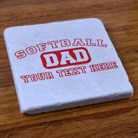 Softball Dad (Block Logo) - Stone Coaster