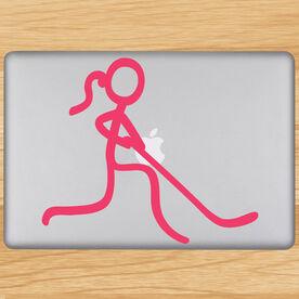 Hockey Stick Figure Girl Removable ChalkTalkGraphix Laptop Decal