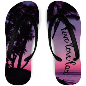 Girls Lacrosse Flip Flops Live Love Lax Beach Sunset