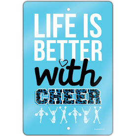 "Cheerleading 18"" X 12"" Aluminum Room Sign Life Is Better With Cheer"