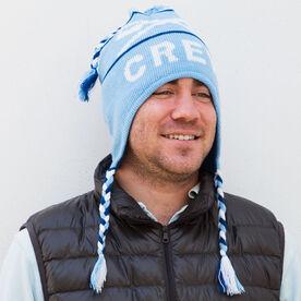 Fleece Lined Knit CREW Hat Light Blue/Navy