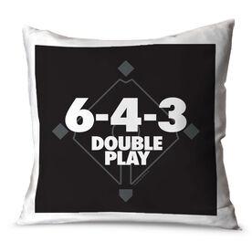 Baseball Throw Pillow 6-4-3 Double Play
