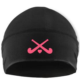 Beanie Performance Hat - Field Hockey Crossed Sticks with Heart
