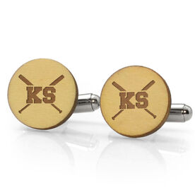 Baseball Engraved Wood Cufflinks Your Initials with Crossed Bats