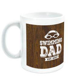 Swimming Ceramic Mug Dad With Wood Background