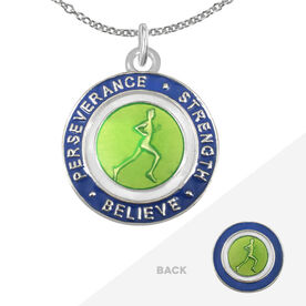 Runner's Creed Pendant Necklace - 2.3cm Green/Navy