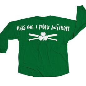 Softball Statement Jersey Shirt Kiss Me I Play Softball