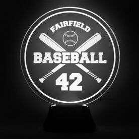 Baseball Acrylic LED Lamp Crossed Bats Team Name and Number