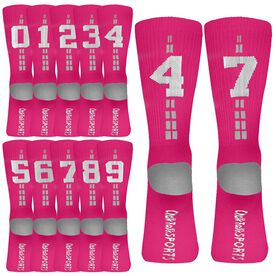 Team Number Woven Mid Calf Socks - Pink/White
