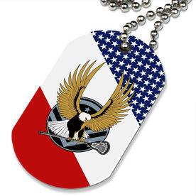 Lacrosse Printed Dog Tag Necklace Lax Strong