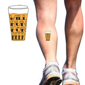 Will Run For Beer SportTATS Temporary Running Tattoo