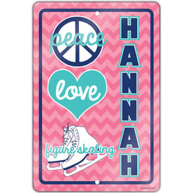 "Figure Skating 18"" X 12"" Aluminum Room Sign Personalized Peace Love Figure Skating Chevron"