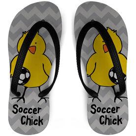 Soccer Flip Flops Chick Chevron