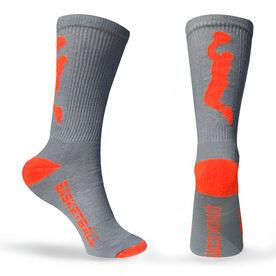 Basketball Woven Mid Calf Socks - Player (Gray/Orange)