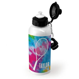 Tennis 20 oz. Stainless Steel Water Bottle Personalized Tie Dye with Tennis Racket