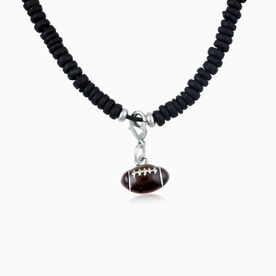 Natural SportBEAD Adjustable Necklace - Enamel Football Charm