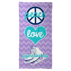 Figure Skating Beach Towel Peace Love Figure Skating