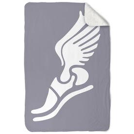 Track and Field Sherpa Fleece Blanket Winged Foot
