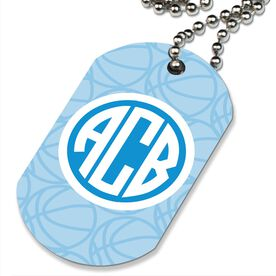 Basketball Printed Dog Tag Necklace Monogrammed Initials Basketball Pattern