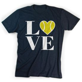 Tennis Tshirt Short Sleeve LOVE with Tennis Ball Heart with Neon Yellow