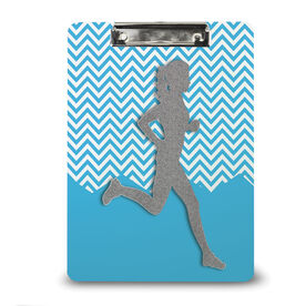 Running Custom Clipboard Runner Girl Faux Glitter Chevron