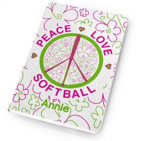 Softball Notebook Peace Love Softball Flowers