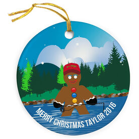 Fly Fishing Porcelain Ornament Gingerbread Man