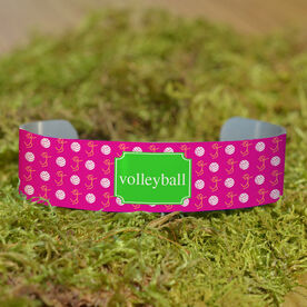 Volleyball Cuff Bracelet (Narrow) Volleyball Girl Stick Figure With Ball