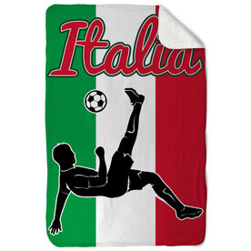 Soccer Sherpa Fleece Blanket Italy Soccer