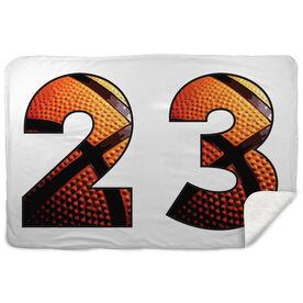 Basketball Sherpa Fleece Blanket Custom Basketball Numbers