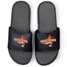 Soccer Navy Slide Sandals - Your Girls Team Name