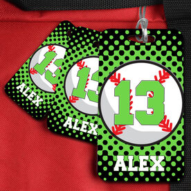 Baseball Bag/Luggage Tag Personalized Baseball with Dots Background