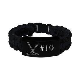 Hockey Paracord Engraved Bracelet - Crossed Sticks with Number/Black