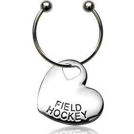 Sport Heart Silver Field Hockey Keychain