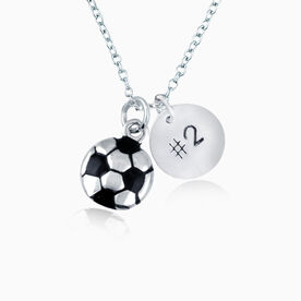 """Sterling Silver Hand Stamped .5"""" Block Font Number Pendant & Silver Plated Soccer Charm Necklace"""