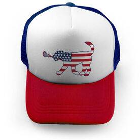 Girls Lacrosse Trucker Hat - Patriotic LuLa the Lax Dog