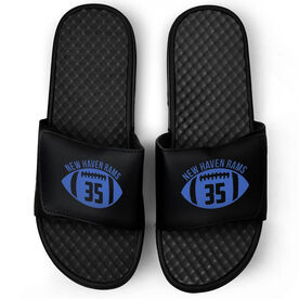 Football Black Slide Sandals - Number In Ball