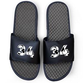 Soccer Navy Slide Sandals - Custom Soccer Number