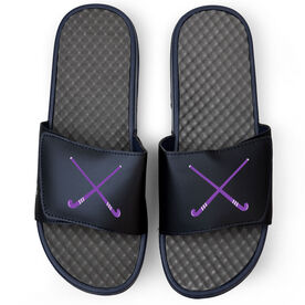 Field Hockey Navy Slide Sandals - Crossed Field Hockey Sticks