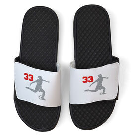 Soccer White Slide Sandals - Girl Player with Number
