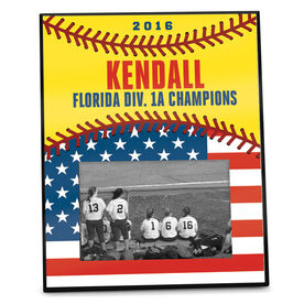 Softball Photo Frame Softball USA Flag Vertical