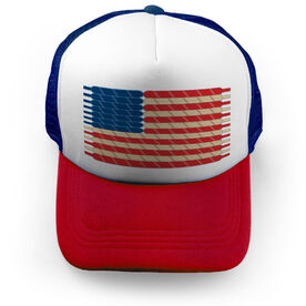 Hockey Trucker Hat Laces Flag