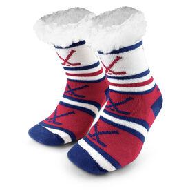Hockey Slipper Socks with Sherpa Lining (Red)