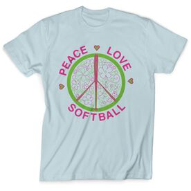 Softball Tshirt Short Sleeve Peace Love Softball Flowers