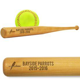 Softball Mini Engraved Bat Team Logo and Text